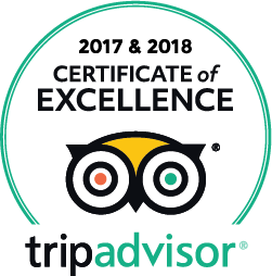 TripAdvisor certificate of excellence 2017 & 2018